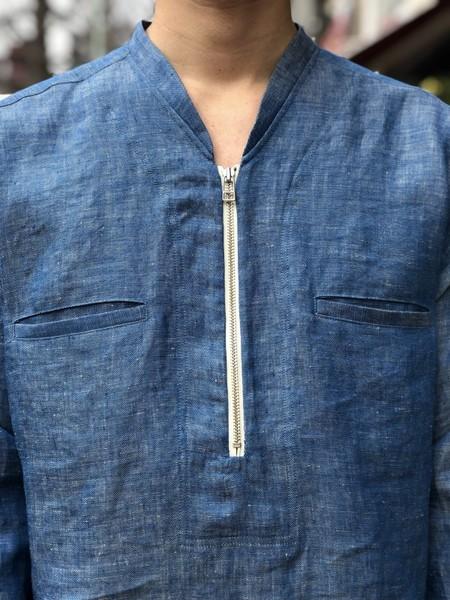 【Décor du tissu】Linen Denim HalfZip Pullover Shirt