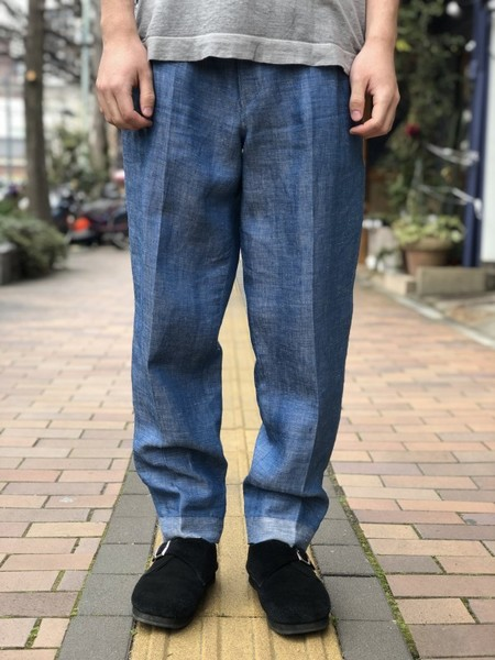 【Décor du tissu】Linen Denim Tapered Trousers