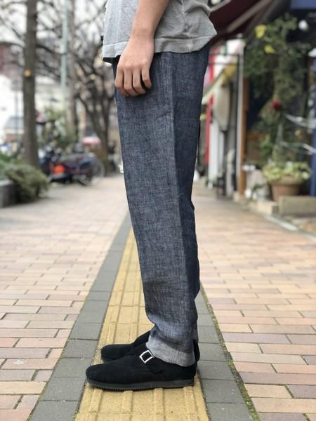 【Décor du tissu】Linen Denim Tapered Trousers