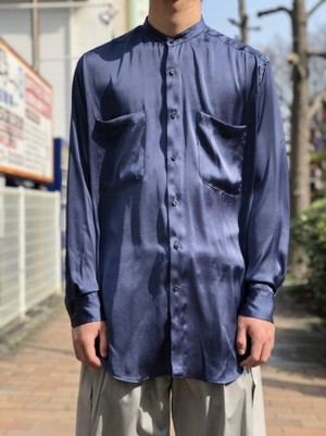 【UMBER】 Stand-up collar shirt