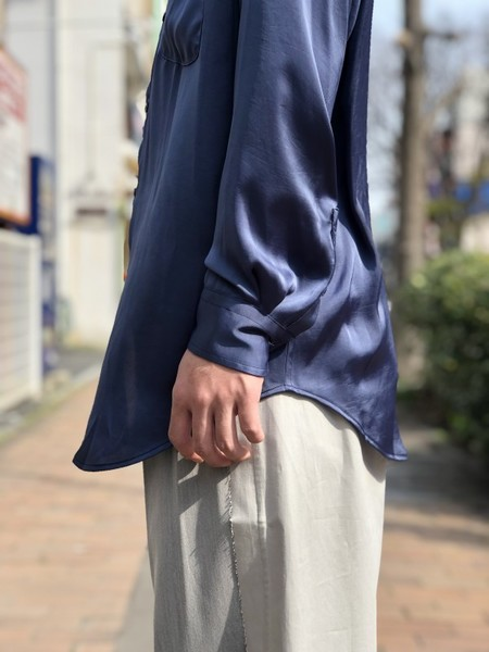 【UMBER】 Stand-up collar shirt