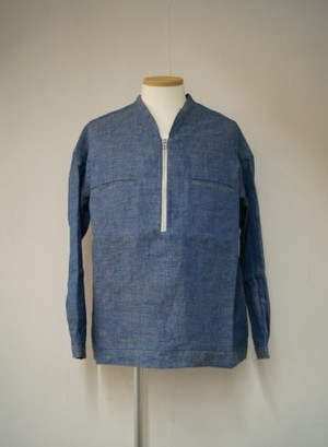 Linen Denim Half Zip Pullover Shirts【BLUE】