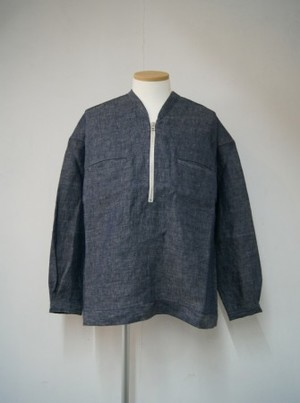 Linen Denim Half Zip Pullover Shirts【NAVY】