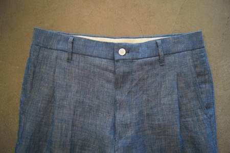 Linen Denim Tapered Trousers【BLUE】