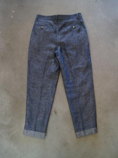 Linen Denim Tapered Trousers【NAVY】