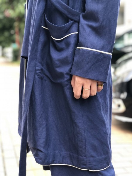 【Décor du tissu】DOUBLE BREASTED SHAWL COLLAR GOWN
