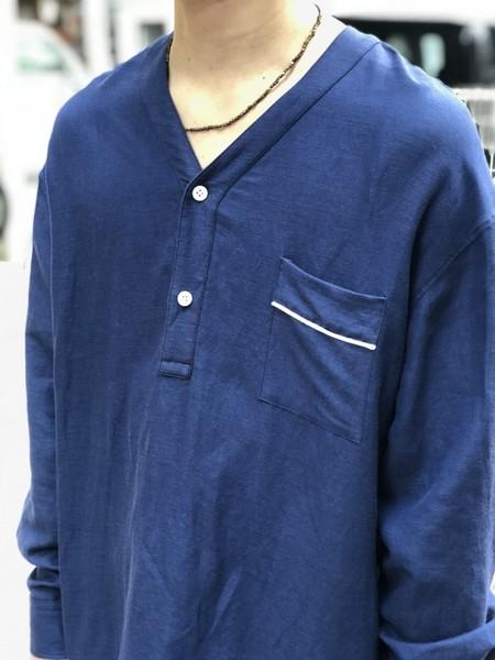 【Décor du tissu】LINEN/RAYON PIPING PULLOVER SHIRT