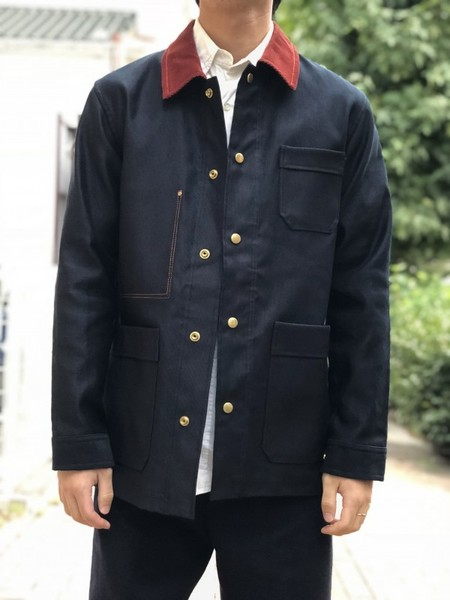 【Décor du tissu】Color stitch coverall jacket